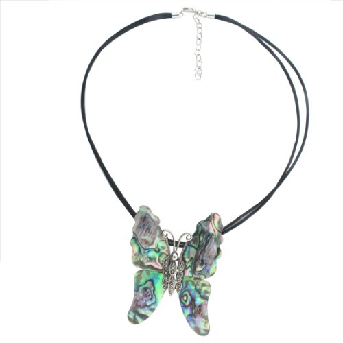 Sterling Silver Marcasite and Abalone Shell Butterfly Pendant on 2 Strand 16