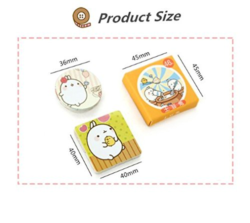 "2 Pack of 46 Pcs Lovely Cute ""Molang Rabbit"" Calendar Diary Book Envelope Label Sticker Scrapbook Decoration Sticker Photo #2"