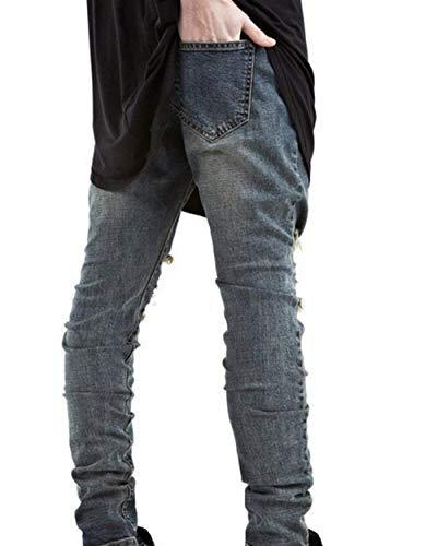 Pantaloni Sbiancati In Crepe Super Blau Da Sul Casual Jeans Fit Slim Di Elasticizzati Strappati Con Stretch Uomo Ginocchio AwWA1qZr
