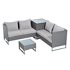 Outsunny 4pc Modern Sectional Patio Furniture Conversation Set - Grey