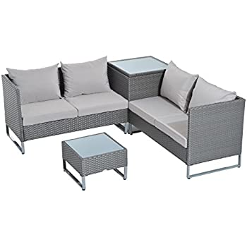 this item outsunny 4pc modern sectional patio furniture set grey - Sectional Patio Furniture