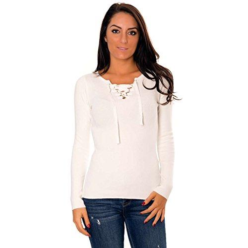 Miss Wear Line Pull Blanc avec col v