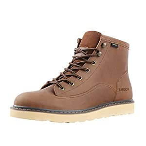 SADDY Men's Flat Lace Up Genuine Leather Winter Ankle Hiking Combat Boots