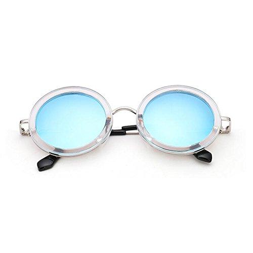 sol Hombres Color Protección Protección 100 Gris Decoración Redondo gafas WYYY Solar Sra Clásico Luz UV Azul Polarizada Retro Anti de Marco UVA FwExIp