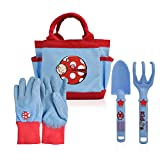 CERBIOR Kids Gardening Tools, 4 Piece Garden Tool Set Kids Gardening Gloves, Rake, Trowel, All in One Gardening Tote