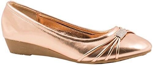 Elara Damen Pumps | Bequeme Keil Schuhe | Kleiner Keilabsatz Lederoptik | chunkyrayan Gold State
