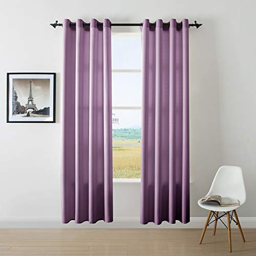 DWCN Semi Sheer Curtains Faux Linen Sunlight Filtering 8 Grommets Purple Living Room Drapes Country Modern Style Draperies, Set of 2 52×95 Inch Long Window Curtain for Bedroom