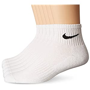 NIKE Unisex Performance Cushion Quarter Socks with Bag (6 Pairs), White/Black, Large