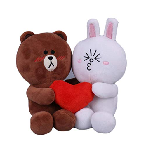 plush bear 2pcs/Pair Brown Bear And Bunny Cony Dolls With Heart For Wedding Gift Male Bear And Female ()