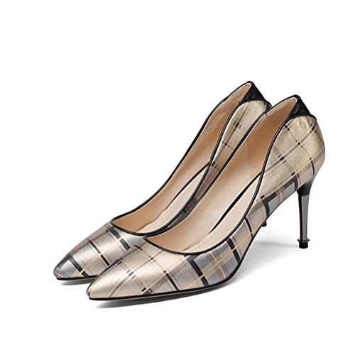 Mouth Shoes Heeled Shallow Shoes Single Fine Women'S High Lattice gold Heel Alien Occupation Heel QPYC Pointed 6F7wfq