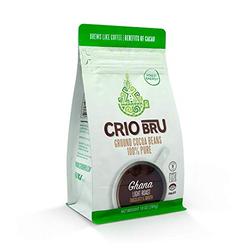 Crio Bru Ghana Light Roast 10oz Bag | Natural Healthy Brewed Cacao Drink | Great Substitute to Herbal Tea and Coffee…