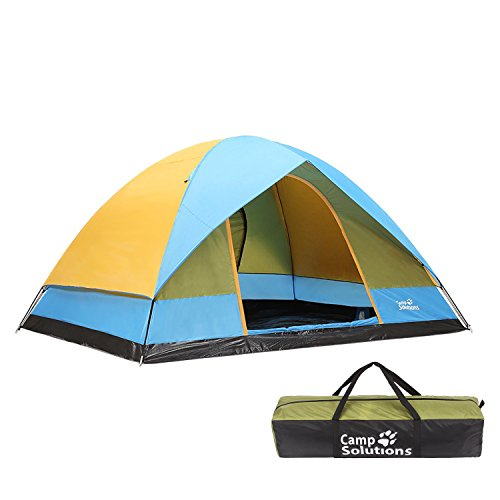 Camp Solutions 6 Person Dome Family Tents for Camping, 11′ x9′, Blue and Green