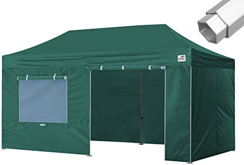 Eurmax Pro 10×20 Outdoor Party Tent with 4 Removable Sidewalls Walls Roller Bag Forest Green