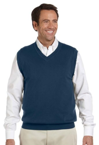Devon & Jones Men's Full Fashioning Lighter Weight V Neck Vest, NAVY, Large