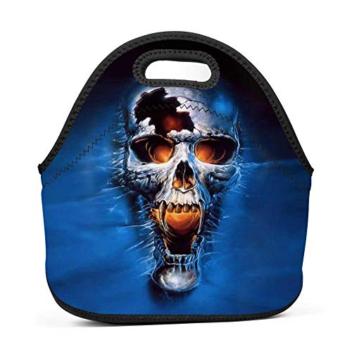 MiiDoo Cool Blue Skull Lunch Box Tote Thick