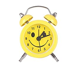 Alarm Clock for Student, Liu Nian Emoji Emoticon Twin Bell Smile Slient Alloy Stainless Metal Analog Quartz Digital Alarm Clock for Bedroom Living Room Decoration Desk (Yellow E)
