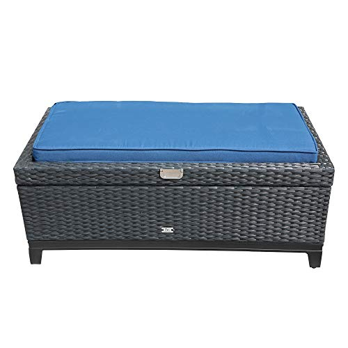 (Orange-Casual Outdoor Patio Storage Ottoman, All-Weather Wicker Rattan Ottoman with Cushion&Gas Lift, Aluminum Frame, Black &Dark Blue Striped)