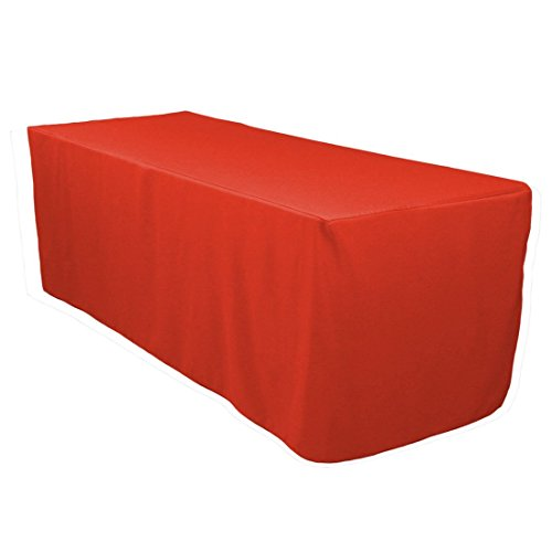 LinenTablecloth 6 ft. Fitted Polyester Tablecloth Red