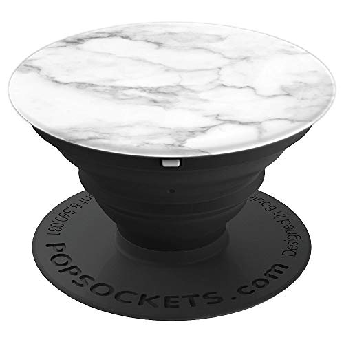 White Black Grey Marble, Cute Simple Elegant For Girls - PopSockets Grip and Stand for Phones and Tablets