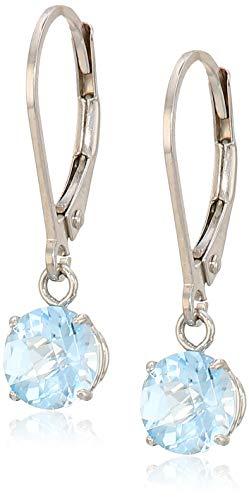 - Sterling Silver Round Checkerboard Cut Sky Blue Topaz Leverback Earrings (6mm)