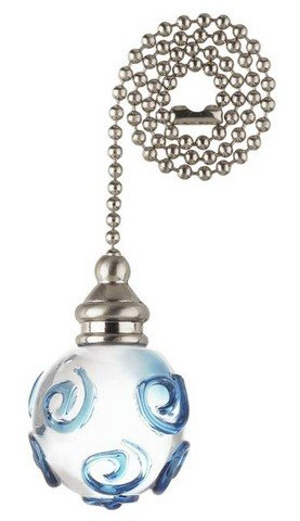 Westinghouse 7762100 Blue Swirl Glass Orb With Nickel Accents Pull Chain