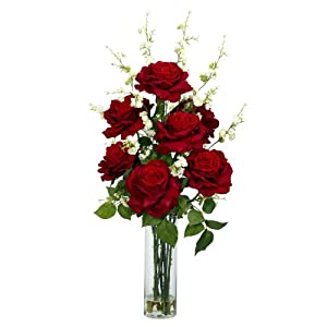 Nearly Natural 1203 Roses with Cherry Blossoms Silk Flower Arrangement, Red 72
