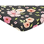 Sweet-Jojo-Designs-Black-and-Blush-Pink-Shabby-Chic-Baby-Girl-Fitted-Mini-Portable-Crib-Sheet-for-Watercolor-Floral-Collection-Rose-Flower-for-Mini-Crib-or-Pack-and-Play-ONLY