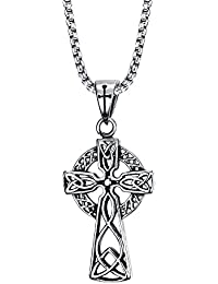 Vintage Stainless Steel Large Celtic Cross Irish Knot Pendant Necklace,Free Chain 24''