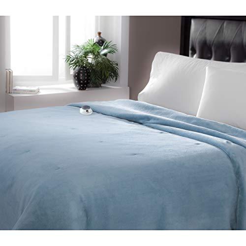 Serta Brand Soft Luxe Plush Electric Warming Blanket Blue Qu