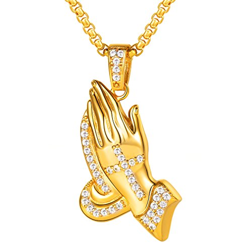 Praying Pendant Hands Plated Gold - FaithHeart Ice Out Praying Hand Pendant Necklace Fashion Gold Plated with Cubic Zirconia Jewelry (Gold)