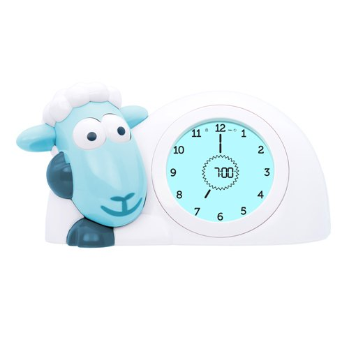- Zazu Kids Sam Sleep Trainer Alarm Clock and Night Light - Blue Sheep Toy