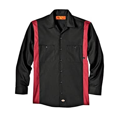 Dickies Occupational Workwear LL524BKER L Polyester/Cotton Men's Long Sleeve Industrial Color Block Shirt, Large, Black/English Red