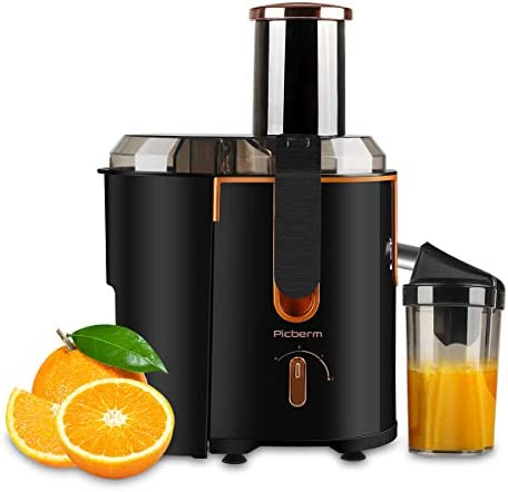 Juicer Extractor Picberm Wide Mouth Juicer Machines, 3 Speed Centrifugal Juicer for Fruit and Vegetable, Powerful Juicer with Plus Pulse Function, 800W 20000RPM, Easy to Clean BPA Free, Black