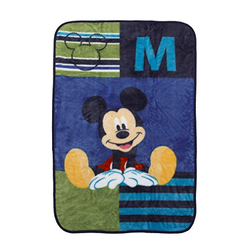 - Disney Mickey Mouse Luxury Plush Throw Baby Blanket, Navy/Lime/Red/Yellow