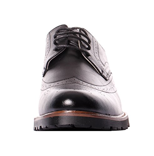 Serene Mens Leather Classic Dress Brogue Lace Up Low Top Wingtip Oxford Shoes (11, Black)