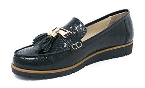 US para Piso BOBERCK Mujer 9 Negro Cuero Estilo Thea Bajo Nautico de Zapato de Coleccion waRBqxrvaO