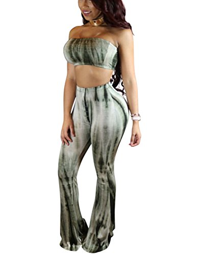 Mojessy Women's 2 Pieces Sets Tie Dye Print Bandeau Top Flared Bell Bottom Pants Outfits (Tie Set Dye)