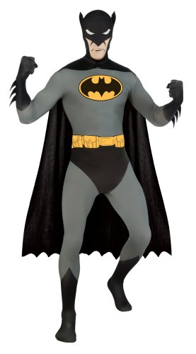 DC Comics Adult Batman 2nd Skin Zentai Super Suit, Black, Large (Rubie's Costume 2nd Skin Zentai Supersuit Costume)