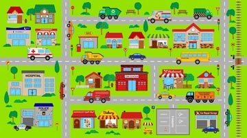 NURSERY FABRIC - Playmat Town - Panel - NOR17 - Panel is 24