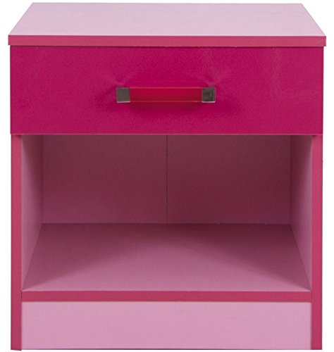 House Additions Pretty Children's Bedside Table - Stylish High Gloss Finish - Available In Two Colours - Provides A Spacious Drawer And A Convenient Shelf (Pink High Gloss)