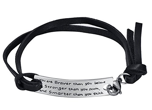 "Luvalti Inspirational Leather Bracelet - ""You are Braver Than You Believe, Stronger Than You Seem and Smarter Than You Think"" - Personalized Jewelry for $<!--$19.97-->"