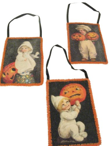 BETHANY LOWE Halloween Victorian Postcard Ornaments - Set of 6