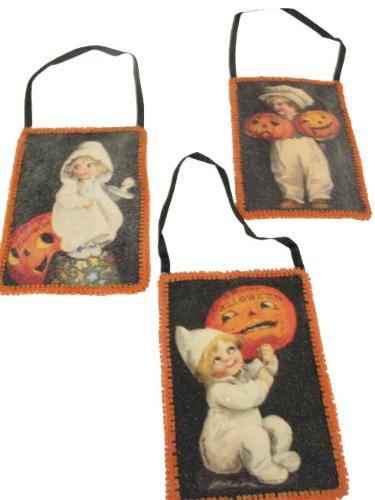 BETHANY LOWE Halloween Victorian Postcard Ornaments - Set of 6 -