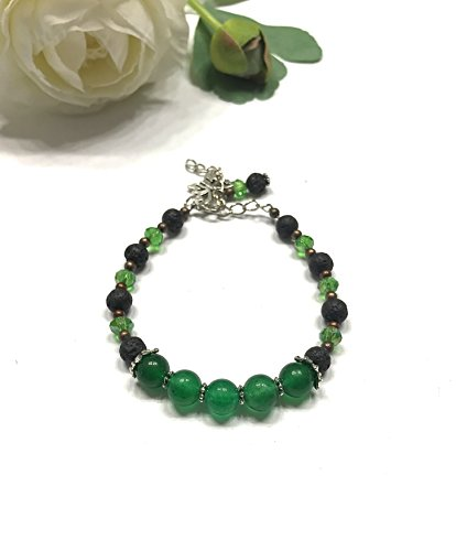 (Natural Green Jade, Lava Rock, and Crystal Bracelet. Butterfly and Beaded Charms Bohemian Style. Heart and Root Chakra Balance.)