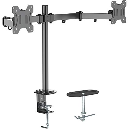 Dual Monitor Stand Dual Articulating Monitor Arm Double Monitor Desk Mount-Fits Most 13-27 Inch LCD LED Monitors Adjustable VESA Bracket with C Clamp, Grommet Mounting Base Hold 17.6 LBS by EVERVIEW ()