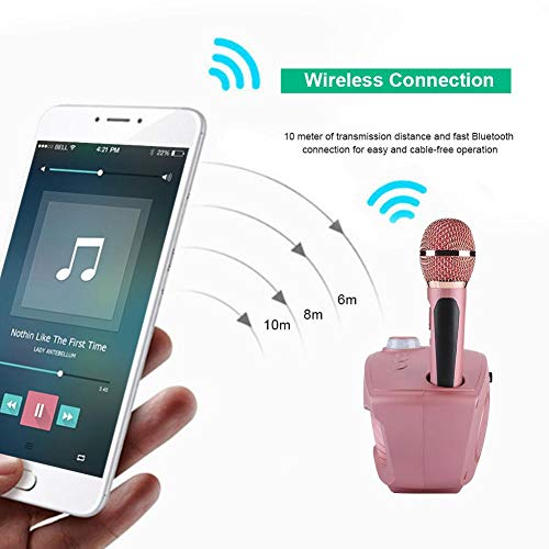 Karaoke Machine, VBESTLIFE Portable Wireless Bluetooth Karaoke Singing Amplifier Speaker Player Set with 2 Microphones Support AUX, USB, TF Card and U Disk for Home Party KTV by V BESTLIFE (Image #2)