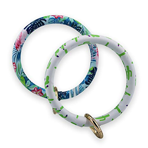 Keychain Bracelet Bangle Men Women Vegan Leather Multicolored Design Key Ring Loop Key Fob Saver (Pack of 2) (Bule/green)