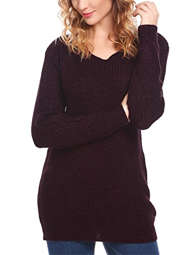 Crewneck Long Sleeve Knit Loose Fit Pullover Sweater Red XL (Knit Wool Blend Sweater)