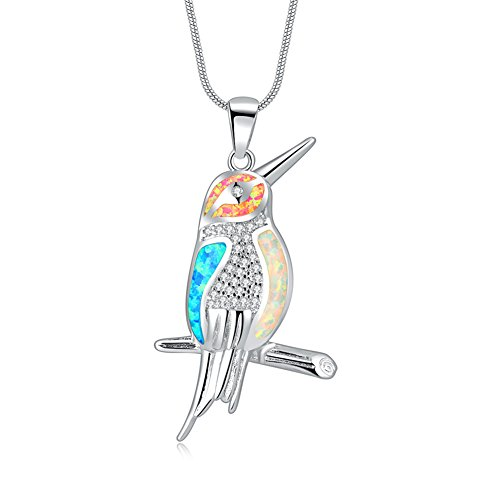 CiNily Bird Pendant for Women-18K White Gold Plated Multi-Color Opal Zircon Cute Pendant Fashion Gemstone Jewelry for Teens Girls