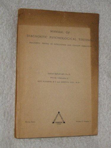 Manual of Diagnostic Psychological Testing. I: Diagnostic Intelligence and Concept - Macys Salt City Lake